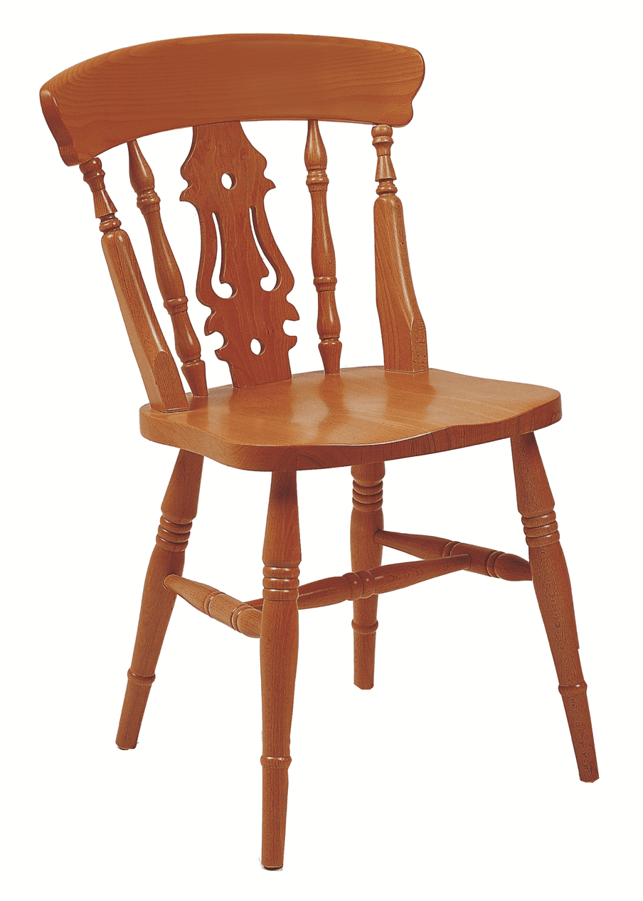 Farmhouse fiddleback side chair solid seat raw