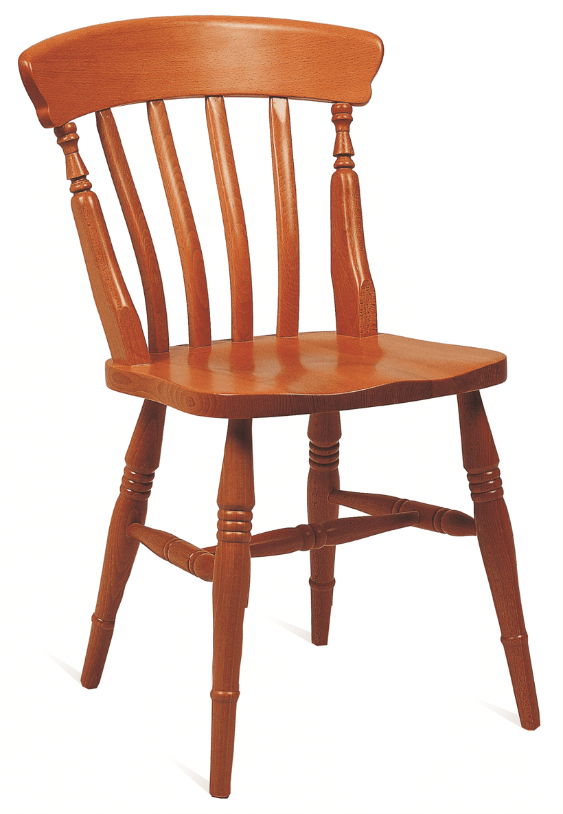 Farmhouse slat back side chair solid seat raw