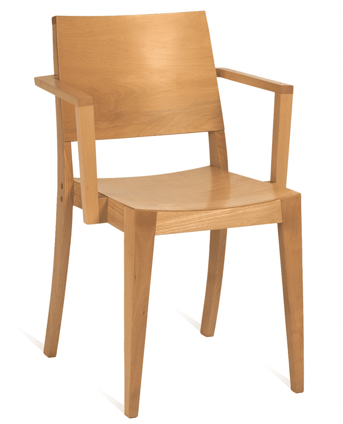 Reuben stacking armchair veneer seat and back raw