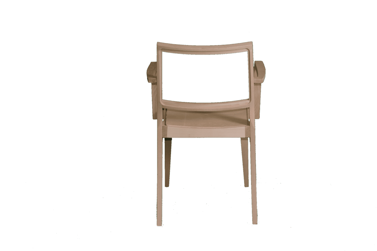 Reuben thin frame stacking armchair RFU seat and back raw