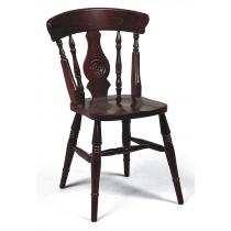 Farmhouse bulls eye side chair solid seat raw