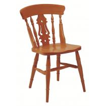 Farmhouse fiddleback side chair solid seat raw