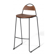 HULA STKG BAR STOOL ASH SEAT ANTIQUE BLK