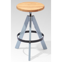 TRIPOD HIGH STOOL SOLID SEAT NAT GREY