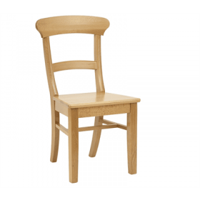 Spoonback side chair solid seat raw