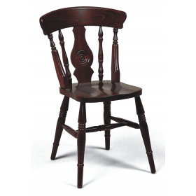 Farmhouse bulls eye side chair solid seat raw