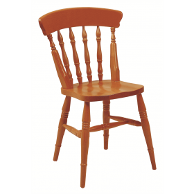 Farmhouse spindle back side chair solid seat raw