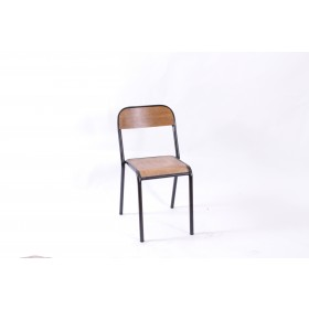 PIPE STK SIDE CHAIR VEN STBK NAT GUNM
