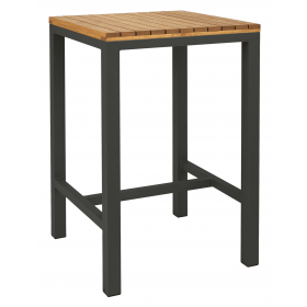 Pier square bar table oiled anthracite 750 x 750mm
