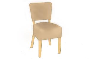 Ohio deep seat side chair Beige-Med Oak